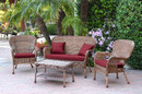 Jeco W00212-G-FS030 4Pc Windsor Honey Wicker Conversation Set - Red Cushions