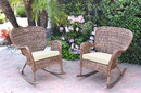 Jeco W00212-R_2-FS001 Set Of 2 Windsor Honey Resin Wicker Rocker Chair With Ivory Cushions