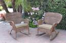 Jeco W00212-R_2-FS006 Set Of 2 Windsor Honey Resin Wicker Rocker Chair With Tan Cushions