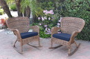 Jeco W00212-R_2-FS011 Set Of 2 Windsor Honey Resin Wicker Rocker Chair With Midnight Blue Cushions