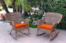 Jeco W00212-R_2-FS016 Set Of 2 Windsor Honey Resin Wicker Rocker Chair With Orange Cushions