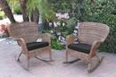 Jeco W00212-R_2-FS017 Set Of 2 Windsor Honey Resin Wicker Rocker Chair With Black Cushions