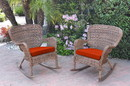 Jeco W00212-R_2-FS018 Set Of 2 Windsor Honey Resin Wicker Rocker Chair With Brick Red Cushions