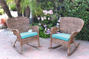 Jeco W00212-R_2-FS027 Set Of 2 Windsor Honey Resin Wicker Rocker Chair With Sky Blue Cushions
