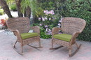 Jeco W00212-R_2-FS029 Set Of 2 Windsor Honey Resin Wicker Rocker Chair With Sage Green Cushions