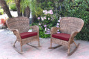 Jeco W00212-R_2-FS030 Set Of 2 Windsor Honey Resin Wicker Rocker Chair With Red Cushions