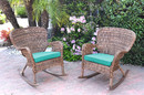 Jeco W00212-R_2-FS032 Set Of 2 Windsor Honey Resin Wicker Rocker Chair With Turquoise Cushions