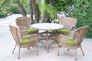 Jeco W00212F-D-G-FS029 5Pc Windsor Honey Wicker Dining Set With Faux Wood Top And 3