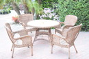 Jeco W00212F-D-G Honey 5Pc Wicker Dining Set With Faux Wood Top (1 Rd Dinging Table +4 Single Chairs)