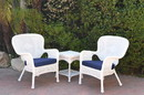 Jeco W00213_2-CES011 Windsor White Wicker Chair And End Table Set With Midnight Blue Chair Cushion