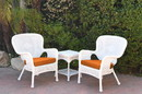 Jeco W00213_2-CES016 Windsor White Wicker Chair And End Table Set With Orange Chair Cushion