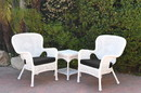 Jeco W00213_2-CES017 Windsor White Wicker Chair And End Table Set With Black Chair Cushion