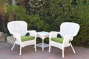 Jeco W00213_2-CES029 Windsor White Wicker Chair And End Table Set With Sage Green Chair Cushion