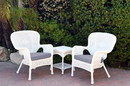Jeco W00213_2-CES033 Windsor White Wicker Chair And End Table Set With Steel Blue Chair Cushion