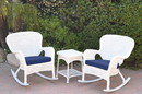 Jeco W00213_2-RCES011 Windsor White Wicker Rocker Chair And End Table Set With Midnight Blue Chair Cushion