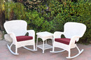 Jeco W00213_2-RCES030 Windsor White Wicker Rocker Chair And End Table Set With Red Chair Cushion