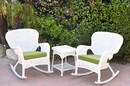 Jeco W00213_2-RCES034 Windsor White Wicker Rocker Chair And End Table Set With Hunter Green Chair Cushion