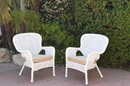 Jeco W00213-C_2-FS006 Set Of 2 Windsor White Resin Wicker Chair With Tan Cushions