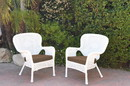 Jeco W00213-C_2-FS007 Set Of 2 Windsor White Resin Wicker Chair With Brown Cushions