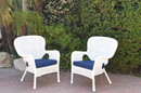 Jeco W00213-C_2-FS011 Set Of 2 Windsor White Resin Wicker Chair With Midnight Blue Cushions
