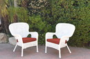 Jeco W00213-C_2-FS018 Set Of 2 Windsor White Resin Wicker Chair With Brick Red Cushions