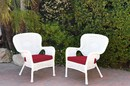 Jeco W00213-C_2-FS030 Set Of 2 Windsor White Resin Wicker Chair With Red Cushion