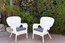 Jeco W00213-C_2-FS033 Set Of 2 Windsor White Resin Wicker Chair With Steel Blue Cushion