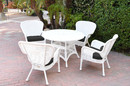 Jeco W00213-D-G-FS017 5Pc Windsor White Wicker Dining Set - Black Cushions