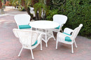 Jeco W00213-D-G-FS032 5Pc Windsor White Wicker Dining Set - Turquoise Cushions
