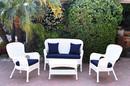 Jeco W00213-G-FS011 4Pc Windsor White Wicker Conversation Set - Midnight Blue Cushions
