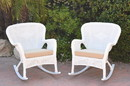 Jeco W00213-R_2-FS006 Set Of 2 Windsor White Resin Wicker Rocker Chair With Tan Cushions