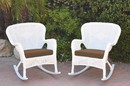 Jeco W00213-R_2-FS007 Set Of 2 Windsor White Resin Wicker Rocker Chair With Brown Cushions