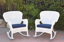 Jeco W00213-R_2-FS011 Set Of 2 Windsor White Resin Wicker Rocker Chair With Midnight Blue Cushions