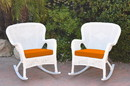 Jeco W00213-R_2-FS016 Set Of 2 Windsor White Resin Wicker Rocker Chair With Orange Cushions
