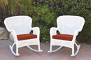 Jeco W00213-R_2-FS018 Set Of 2 Windsor White Resin Wicker Rocker Chair With Brick Red Cushions