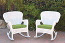 Jeco W00213-R_2-FS029 Set Of 2 Windsor White Resin Wicker Rocker Chair With Sage Green Cushions
