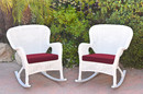 Jeco W00213-R_2-FS030 Set Of 2 Windsor White Resin Wicker Rocker Chair With Red Cushions