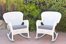 Jeco W00213-R_2-FS033 Set Of 2 Windsor White Resin Wicker Rocker Chair With Steel Blue Cushions