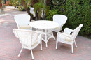Jeco W00213F-D-G-FS001 5Pc Windsor White Wicker Dining Set With Faux Wood Top And 3