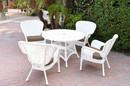 Jeco W00213F-D-G-FS007 5Pc Windsor White Wicker Dining Set With Faux Wood Top And 3