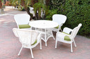 Jeco W00213F-D-G-FS029 5Pc Windsor White Wicker Dining Set With Faux Wood Top And 3
