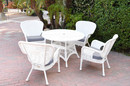 Jeco W00213F-D-G-FS033 5Pc Windsor White Wicker Dining Set With Faux Wood Top And 3