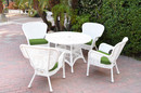 Jeco W00213F-D-G-FS034 5Pc Windsor White Wicker Dining Set With Faux Wood Top And 3
