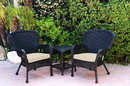 Jeco W00214_2-CES001 Windsor Black Wicker Chair And End Table Set With Ivory Chair Cushion