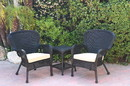 Jeco W00214_2-CES006 Windsor Black Wicker Chair And End Table Set With Tan Chair Cushion