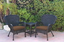 Jeco W00214_2-CES007 Windsor Black Wicker Chair And End Table Set With Brown Chair Cushion