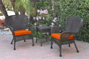 Jeco W00214_2-CES016 Windsor Black Wicker Chair And End Table Set With Orange Chair Cushion