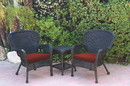 Jeco W00214_2-CES018 Windsor Black Wicker Chair And End Table Set With Brick Red Chair Cushion