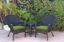 Jeco W00214_2-CES029 Windsor Black Wicker Chair And End Table Set With Sage Green Chair Cushion