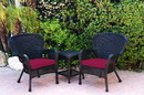 Jeco W00214_2-CES030 Windsor Black Wicker Chair And End Table Set With Red Chair Cushion